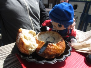 Soup in a bread bowl? Genius!